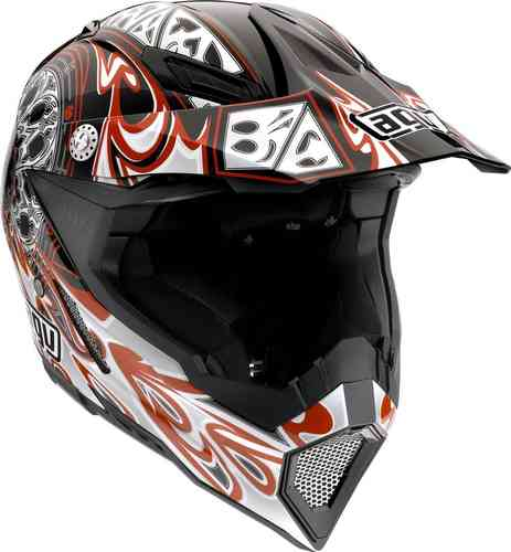 AGV AX-8 5 Gothic Flame Motocross Helmet Black Red 2XS