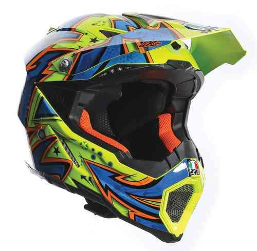 AGV AX-8 Evo Spray Casco de Motocross Azul Amarillo 2XS