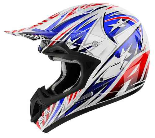 Airoh Jumper Attack Casco de Motocross Blanco Rojo Azul XL