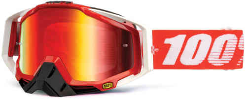 100% Racecraft Extra Motocross Goggles White Red One Size