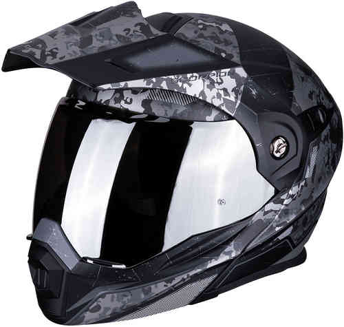 Scorpion ADX-1 Battleflage Enduro Casco Negro Plata 2XL