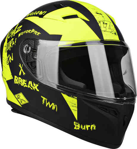 Lazer FH-4 Jr Bad Boy Casco de juventud Negro Amarillo 2XS