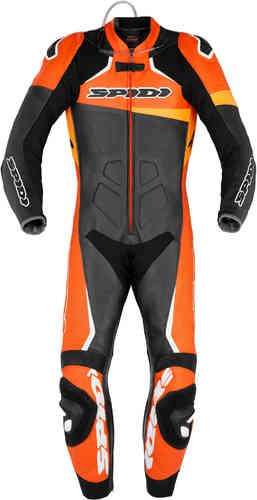 Spidi Race Warrior Pro One Piece Motorcycle Leather Suit Perforated Black Orange 52