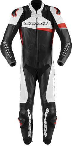 Spidi Race Warrior Pro One Piece Motorcycle Leather Suit Perforated Black White Red 48