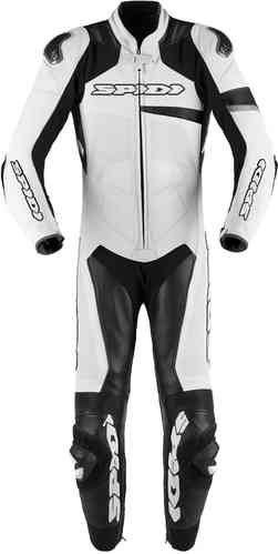 Spidi Race Warrior Pro One Piece Motorcycle Leather Suit Perforated Black White 48