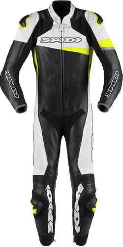 Spidi Race Warrior Pro One Piece Motorcycle Leather Suit Perforated Black White Yellow 56