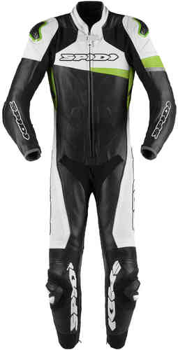 Spidi Race Warrior Pro One Piece Motorcycle Leather Suit Perforated Black Green 48