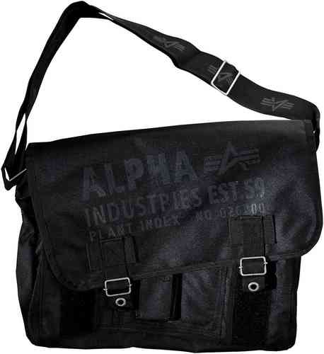Alpha Industries Cargo Oxford Courier Bolsa Negro un tamaño