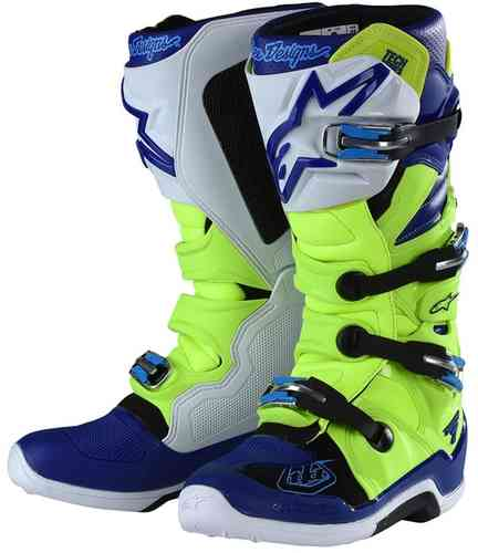 Alpinestars Tech 7 Motocross Boots Black Silver White Gold