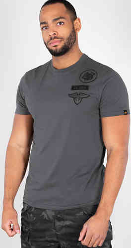 Alpha Industries Air Crew Camiseta Negro Gris 2XL