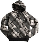 FOX F Plaid Zip Front Fleece Hettegenser