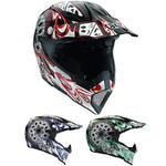AGV AX-8 5 Gothic Flame Cross Helmet - Black/Green, L (59/60)