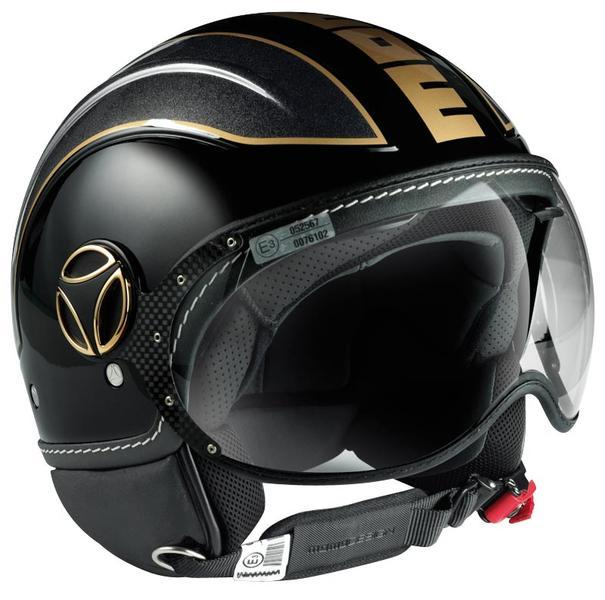 MOMO Avio Black Glossy Metal Anthracite outline Gold Logo Gold