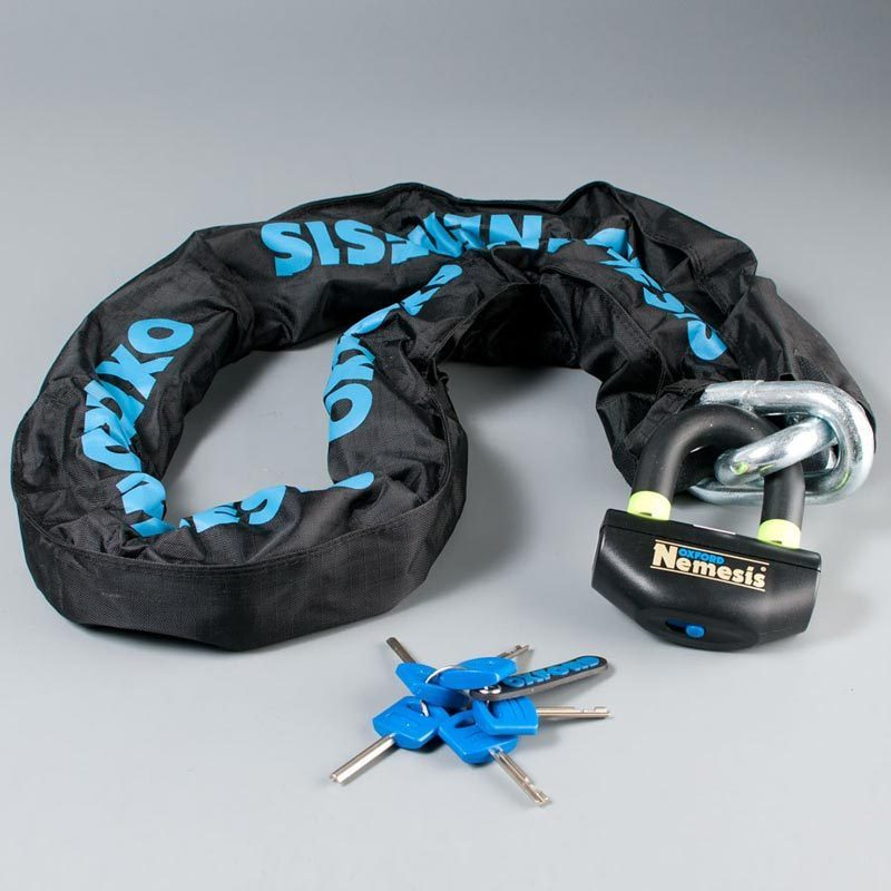 Oxford Nemesis Ultra Strong Chain and Padlock Noir 120 cm