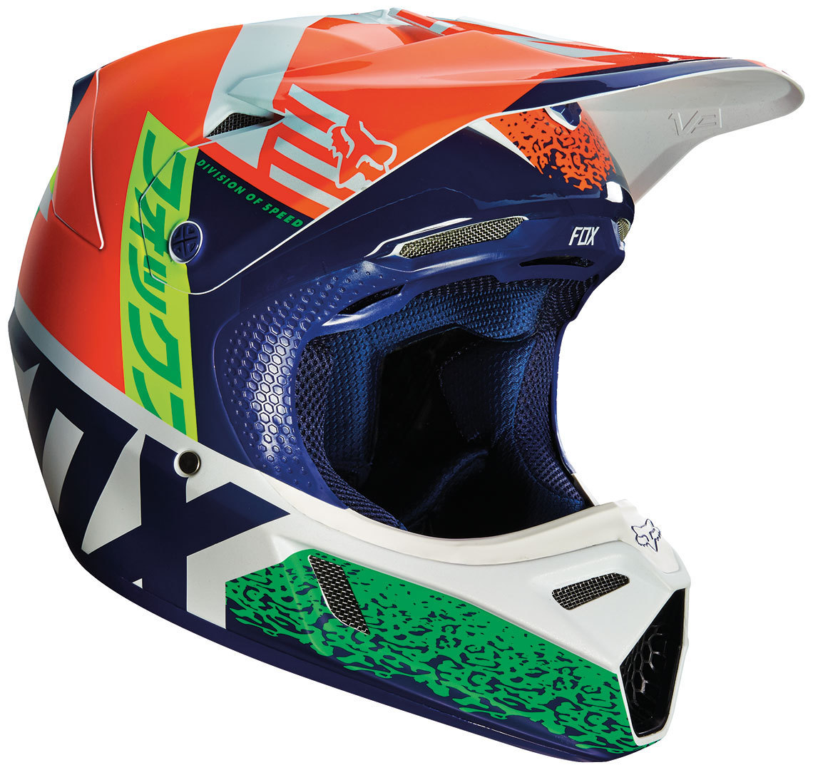 FOX V3 Divizion Motocross Helm, blau-orange, Größe S, blau-orange, Größe S