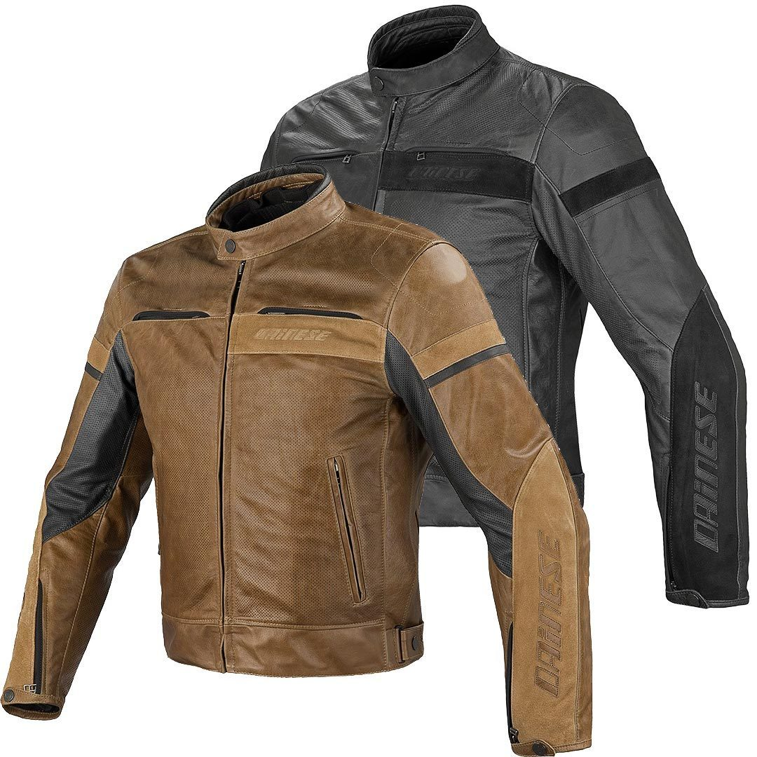 Dainese stripes leather jacket