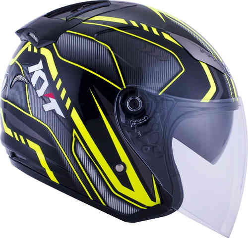 KYT Hellcat Arrow Casco Jet Negro/Amarillo L (59/60)