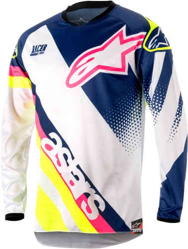 Alpinestars Racer Supermatic Camiseta de Motocross 2018 Blanco/Azul XL