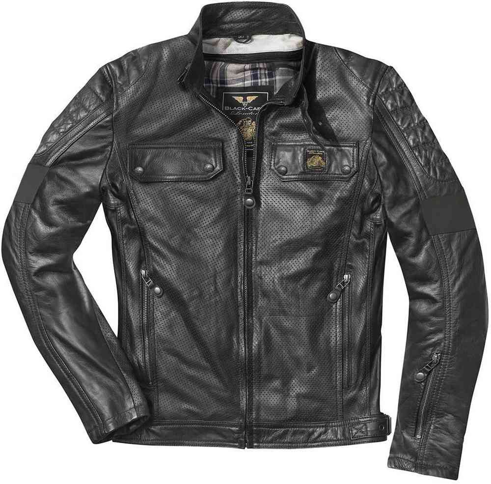Black-Cafe London Brooklyn Chaqueta de cuero de motocicleta
