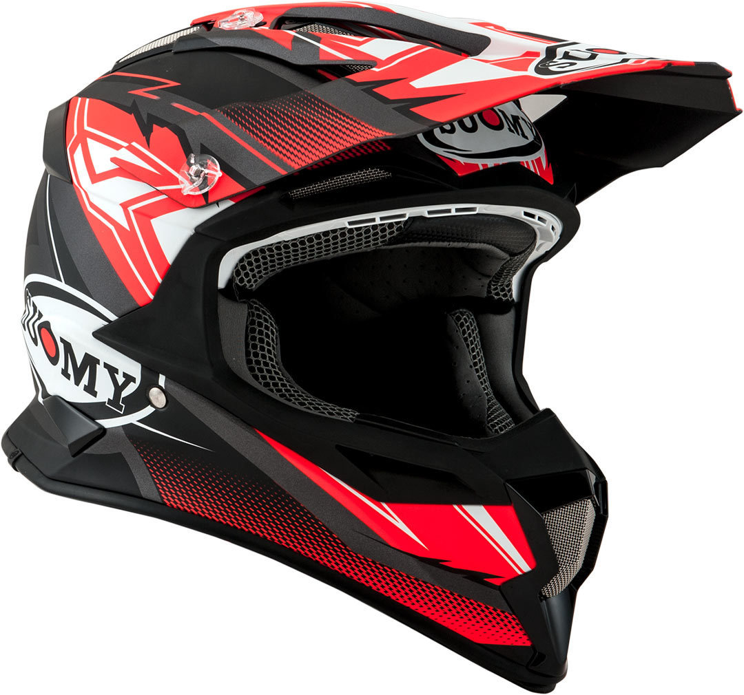 Suomy Alpha Waves Motocross Helm, rot-silber, Größe S, rot-silber, Größe S