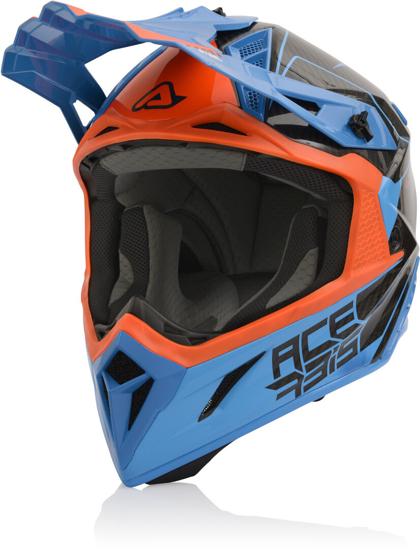 Acerbis Steel Carbon Motocross Helm, blau-orange, Größe M, blau-orange, Größe M
