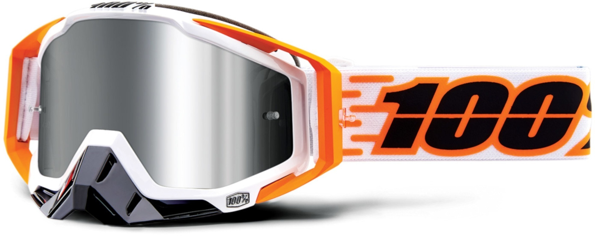 100% Racecraft Plus Illumina Motocross Brille Weiss Orange Einheitsgröße