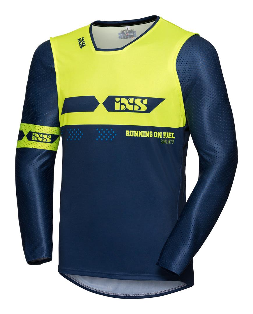Image of IXS MX Jersey 19 2.0 Slim Maglia motocross, blu-giallo, dimensione XL