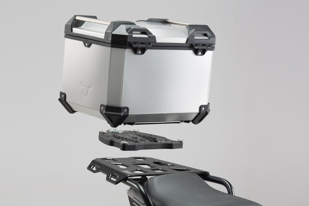 SW-Motech TRAX ADV top case system - Silver. Triumph Tiger 1200 Explorer (11-17). top case system Silver - Triumph Tiger 1200 Explorer (11-17)