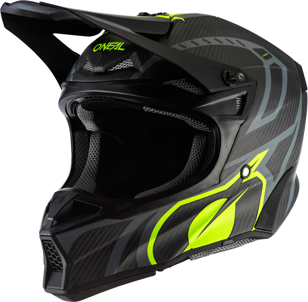 Oneal 10Series Carbon Race Motocross Helm, schwarz-gelb, Größe 2XL, schwarz-gelb, Größe 2XL