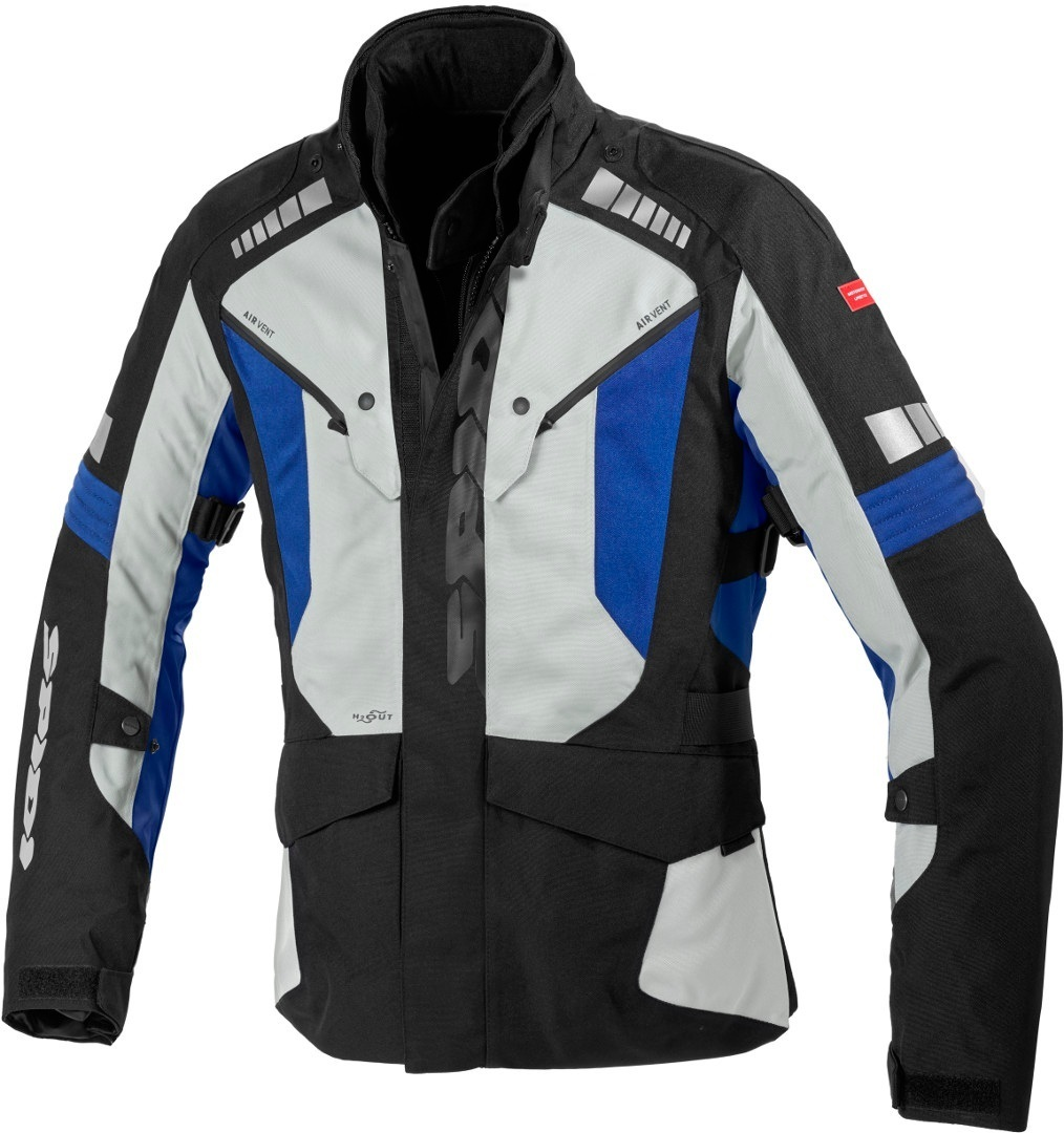 Spidi H2Out Outlander Motorcycle Textile Jacket, black-grey-blue, Size XL, black-grey-blue, Size XL
