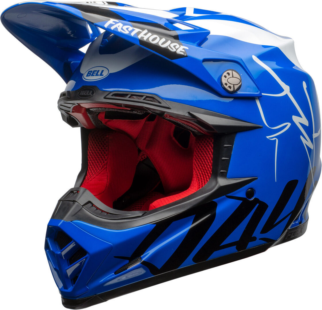 Bell Moto-9 Flex Fasthouse DID20 Motocross Helm, weiss-türkis-blau, Größe S, weiss-türkis-blau, Größe S