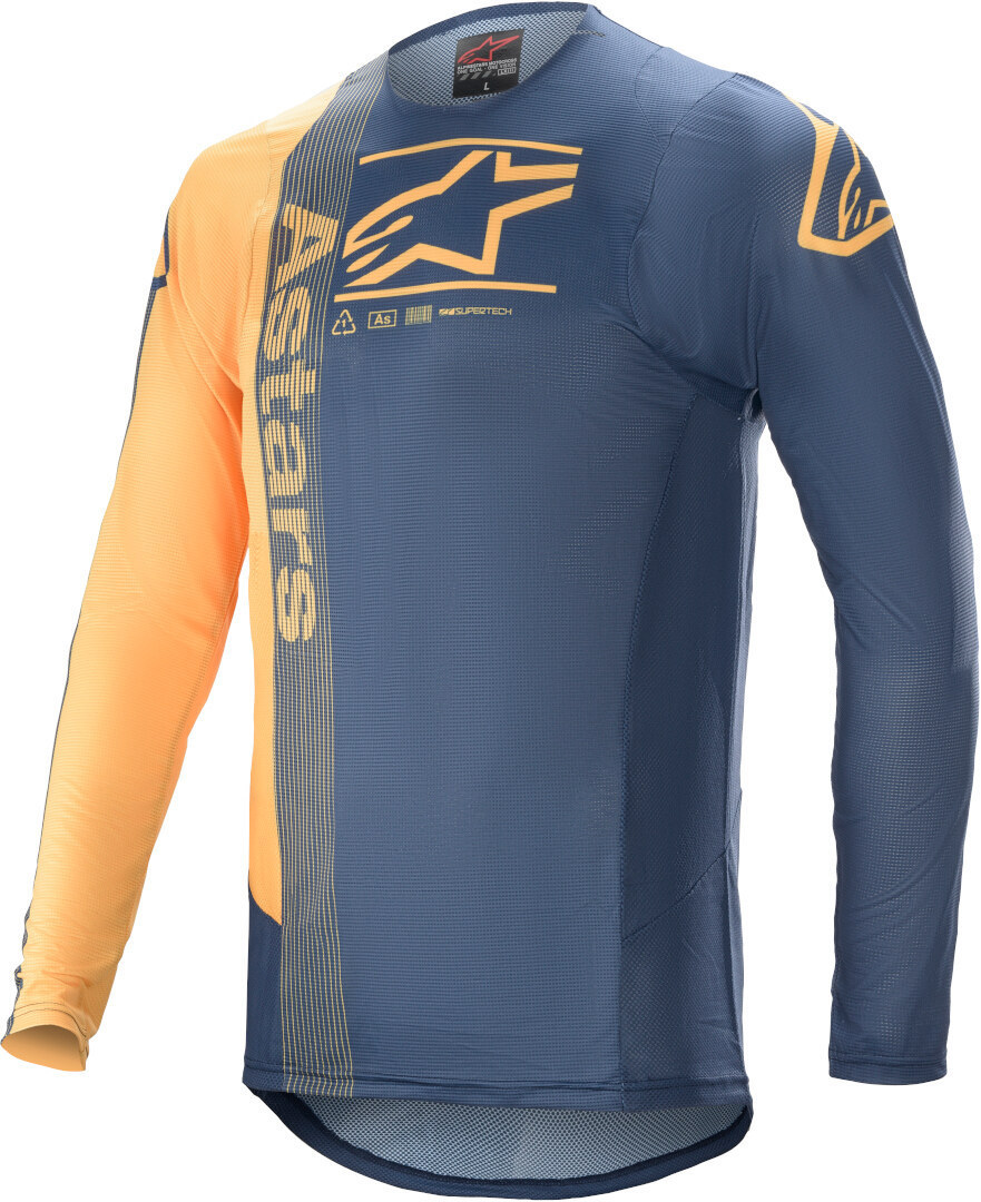 Alpinestars Supertech Foster Motocross Jersey, blau-orange, Größe L, blau-orange, Größe L