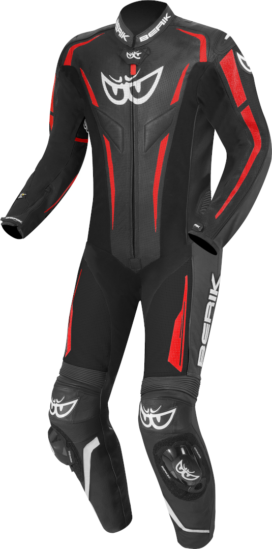 Berik RSF-Teck One Piece Motorcycle Leather Suit, black-red, Size 56, black-red, Size 56