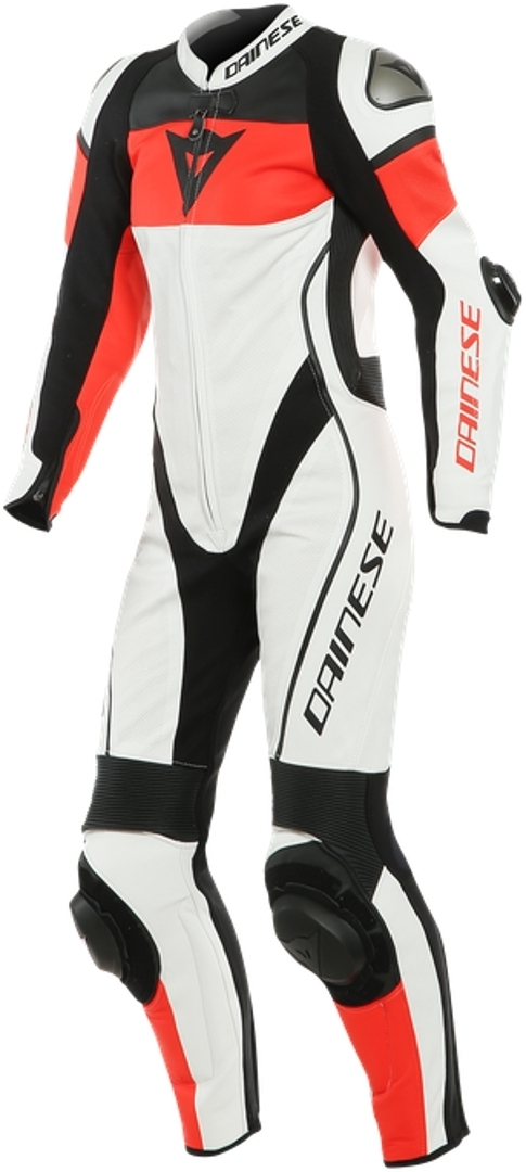 Dainese Imatra One Piece Perforated Ladies Motorcycle Leather Suit, black-white-red, Size 42 for Women, black-white-red, Size 42 for Women