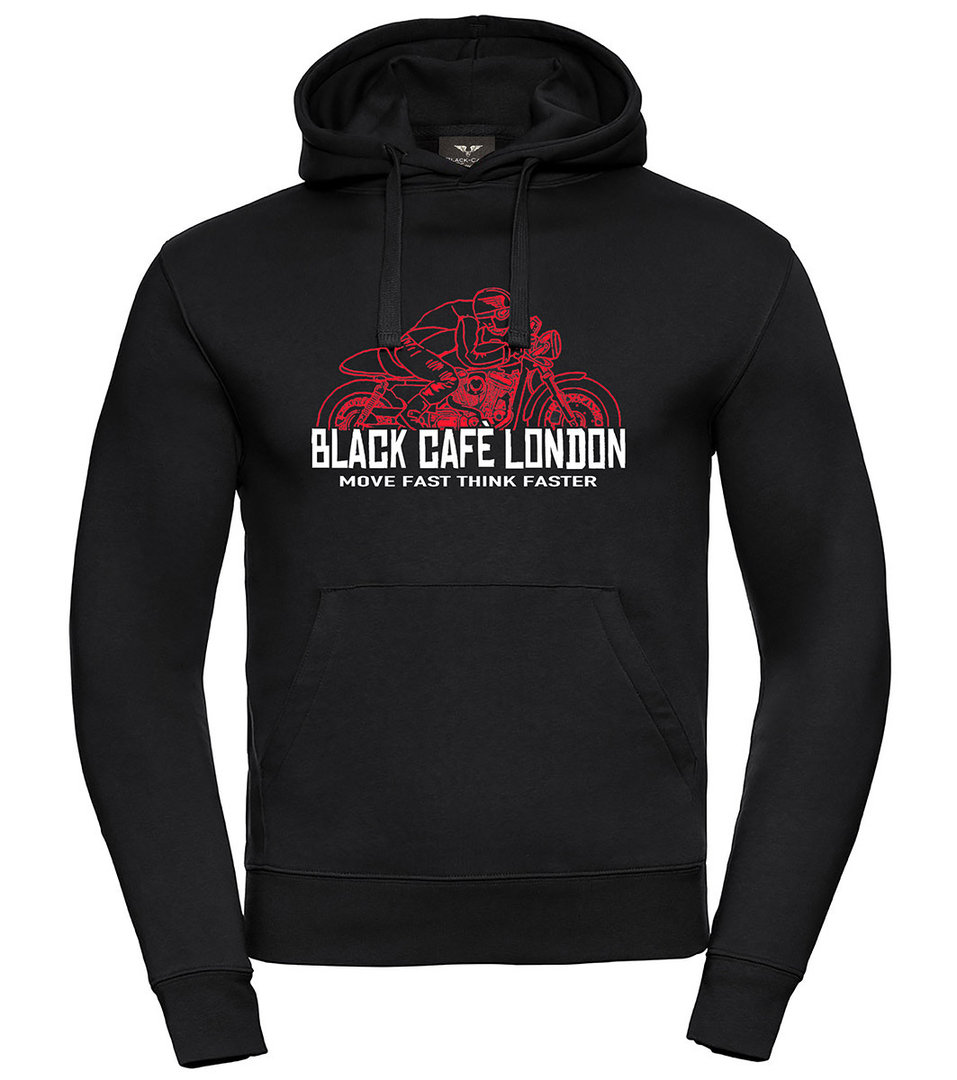 Black-Cafe London Fast Live Hoodie, schwarz-rot, Größe M, schwarz-rot, Größe M