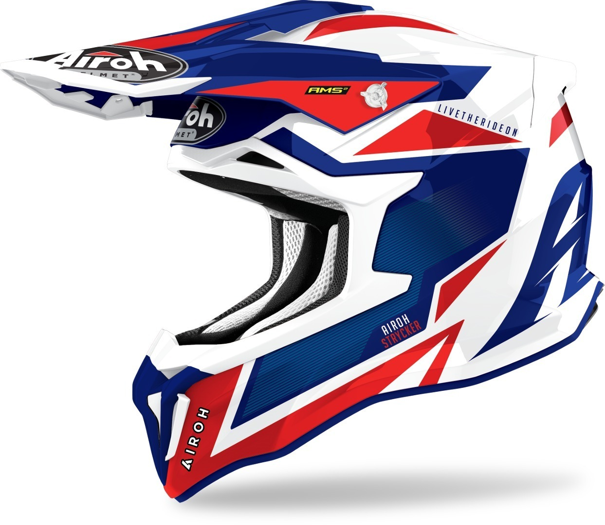 Airoh Strycker Axe Carbon Motocross Helmet, red-blue, Size M, red-blue, Size M