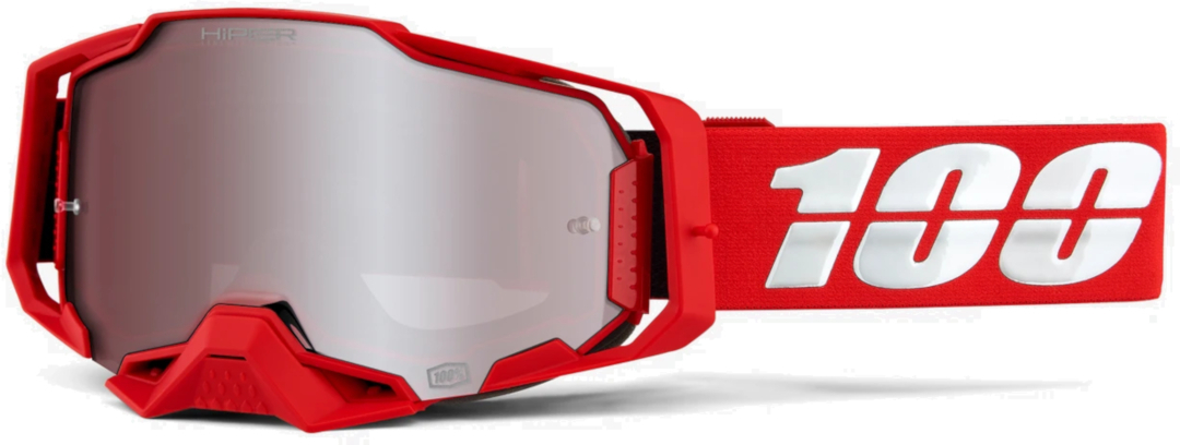 100% Armega Hiper Red Motocross Brille, weiss-rot, weiss-rot RC Modellbau